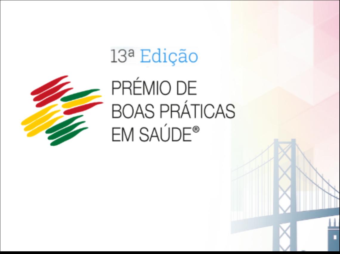 Imagem com logotipo da 13ª edição do Prémio de boas Práticas em Saúde